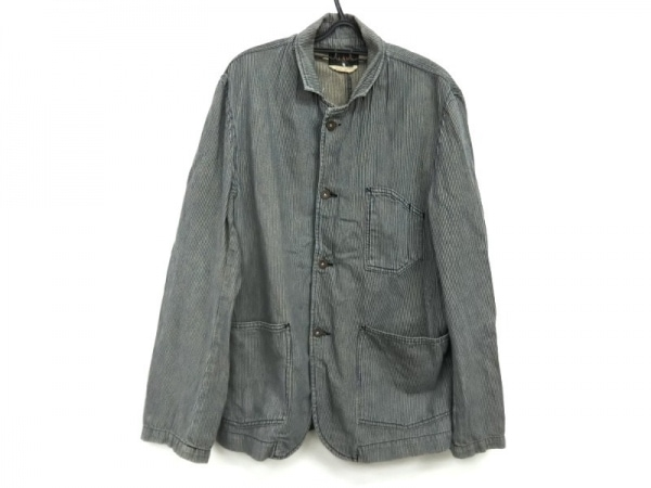 BEAMS(ビームス) ジャケット サイズL メンズ ブルー×アイボリー デニム/ストライプ