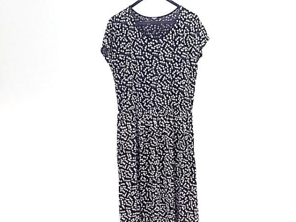 マーブルシュッド ワンピース サイズ  レディース美品  黒×白×マルチ 花柄