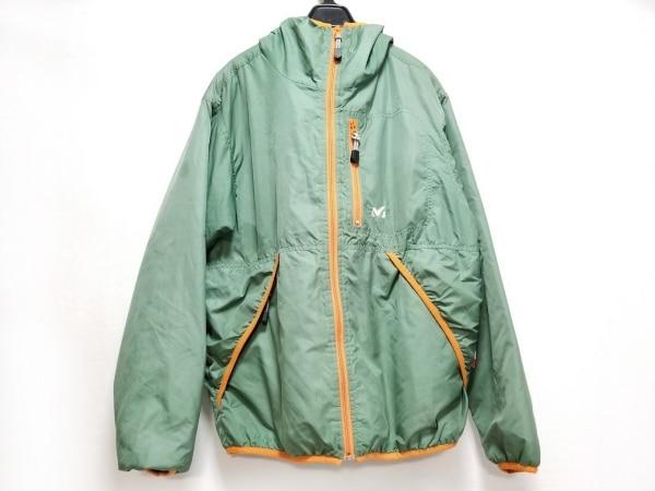 MILLET(ミレー) ダウンジャケット サイズM メンズ ライトグリーン×オレンジ