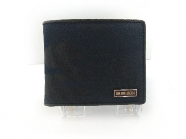 DIRK BIKKEMBERGS(ダークビッケンバーグ) 2つ折り財布美品  黒 化学繊維×レザー