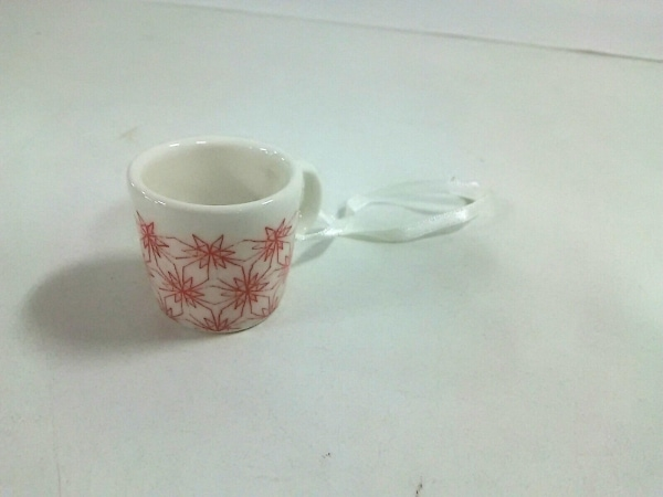 ARABIA(アラビア) 小物美品  白×レッド オーナメント/ミニマグ 陶器