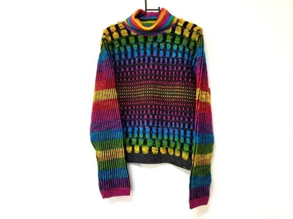 フィッチェ 長袖セーター レディース美品  黒×パープル×マルチ タートルネック