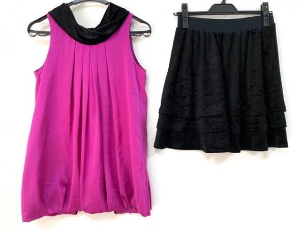 プチプードル スカートセットアップ サイズ9 M レディース美品  黒×パープル