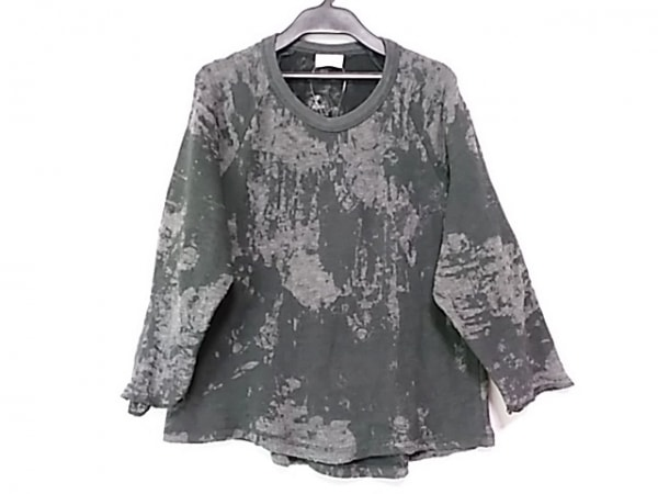 DRIES VAN NOTEN(ドリスヴァンノッテン) 七分袖カットソー レディース 黒×グレー