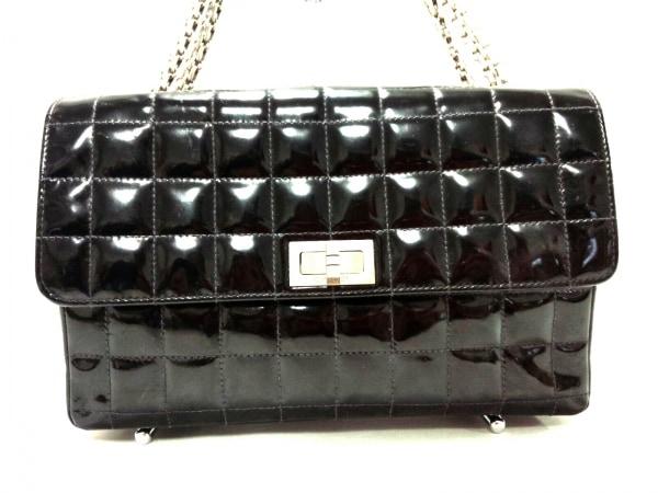 シャネル ショルダーバッグ チョコバー/2.55 黒 チェーンショルダー/シルバー金具