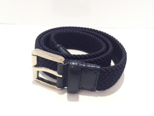 ゼニア ベルト 85/32美品  ダークネイビー×シルバー 編み込み 化学繊維×金属素材
