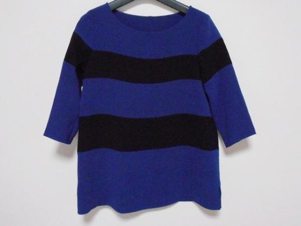 エムフィル 七分袖カットソー サイズ36 S レディース美品  ブルー×黒 ボーダー