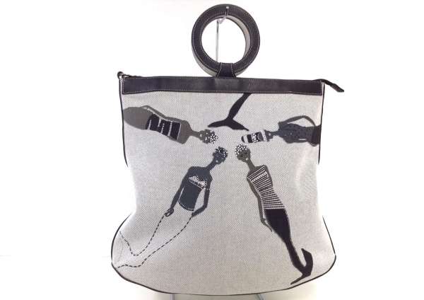 バーバラリール ハンドバッグ 白×黒×マルチ キャンバス×ラインストーン×レザー