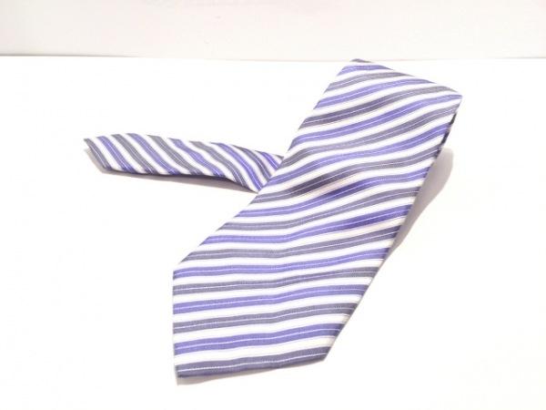 PaulSmith(ポールスミス) ネクタイ メンズ 白×ブルー×ネイビー ストライプ