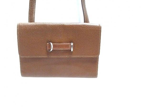 LONGCHAMP(ロンシャン) 財布 ダークブラウン ショルダーストラップ付き レザー