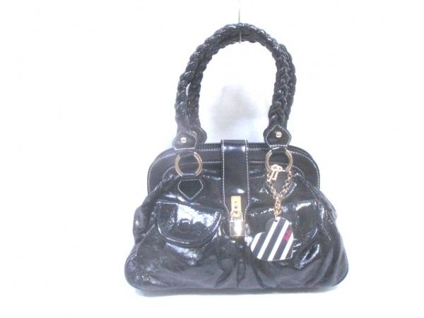 Barbie(バービー) ハンドバッグ美品  黒 ハート エナメル(合皮)×合皮