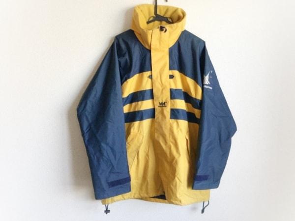 ヘリーハンセン コート サイズM メンズ イエロー×ネイビー ジップアップ/刺繍/冬物