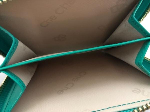 チチ 2つ折り財布 グリーン×アイボリー×シルバー 型押し加工/ラウンドファスナー
