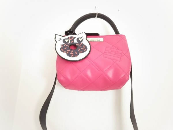 KARL LAGERFELD(カールラガーフェルド) ハンドバッグ美品  ピンク×黒 合皮