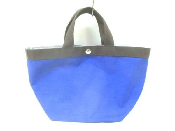 エルベシャプリエ トートバッグ ブルー×ダークブラウン ミニサイズ ナイロン