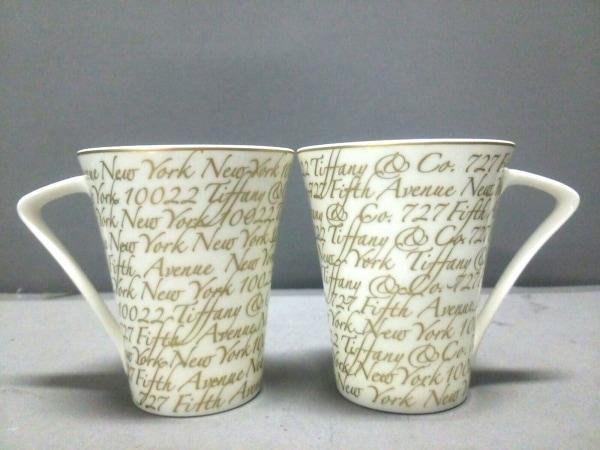 ティファニー マグカップ新品同様  ノーツ 白×ゴールド マグカップ×2 陶器