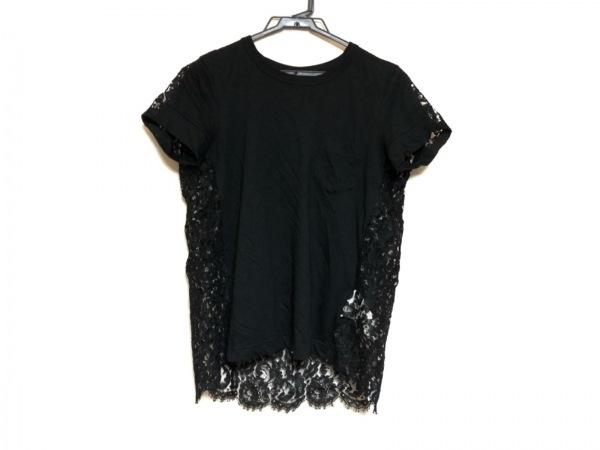 Sacai(サカイ) 半袖カットソー サイズ2 M レディース美品  黒 異素材切替/レース