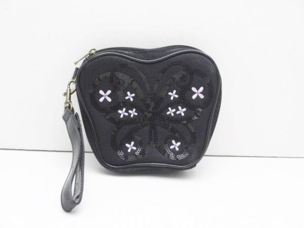 ANNA SUI(アナスイ) ポーチ美品  黒×白×ピンク フラワー刺繍/スパンコール