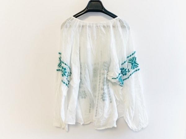 スターメラ 長袖カットソー サイズS レディース美品  白×グリーン シースルー