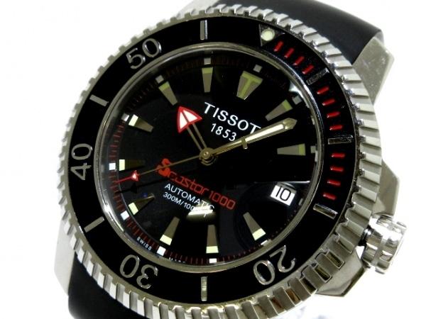 TISSOT(ティソ) 腕時計 シースター1000 A464/564 メンズ ラバーベルト/裏スケ 黒
