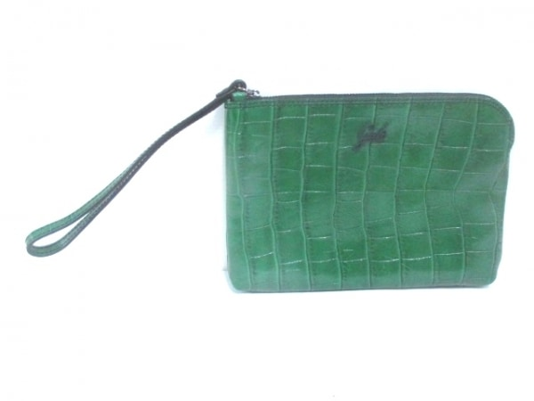 GABS(ガブス) セカンドバッグ グリーン 型押し加工 レザー
