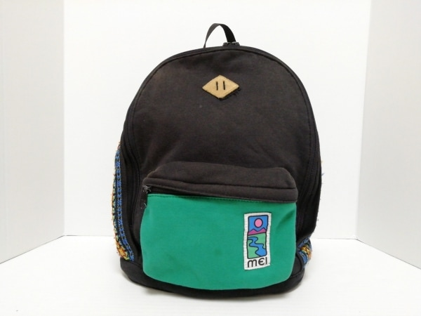 MEI(メイ・エムイーアイ) リュックサック 黒×グリーン×マルチ 刺繍 コットン