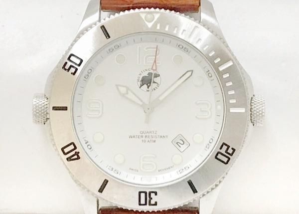 HUNTING WORLD(ハンティングワールド) 腕時計 HW005 SL メンズ 革ベルト シルバー