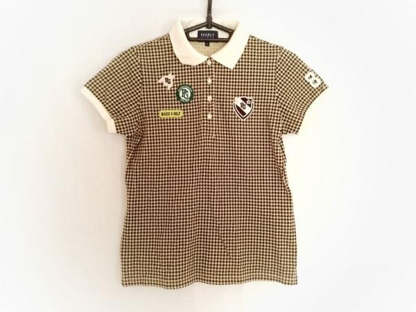 パーリーゲイツ 半袖ポロシャツ サイズ0 XS レディース ベージュ×マルチ 千鳥格子