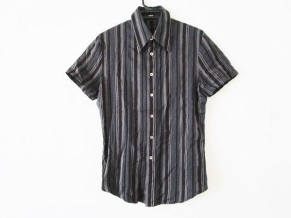 シェラック 半袖シャツ サイズ48 XL メンズ ダークグレー×ライトブラウン×黒