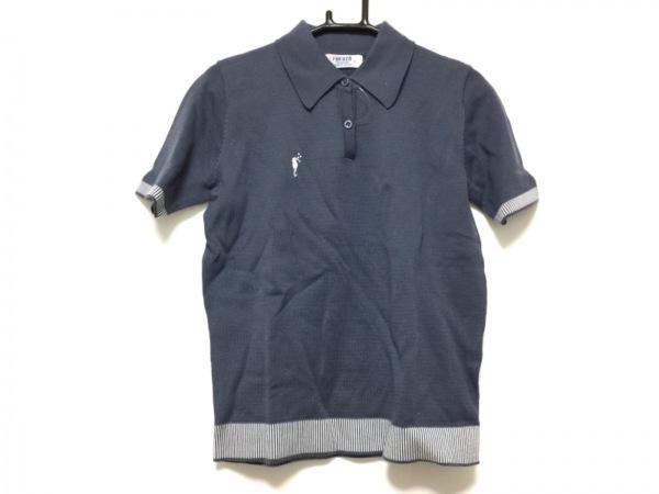 フクゾー 半袖ポロシャツ サイズM レディース ダークグレー×グレー ストライプ