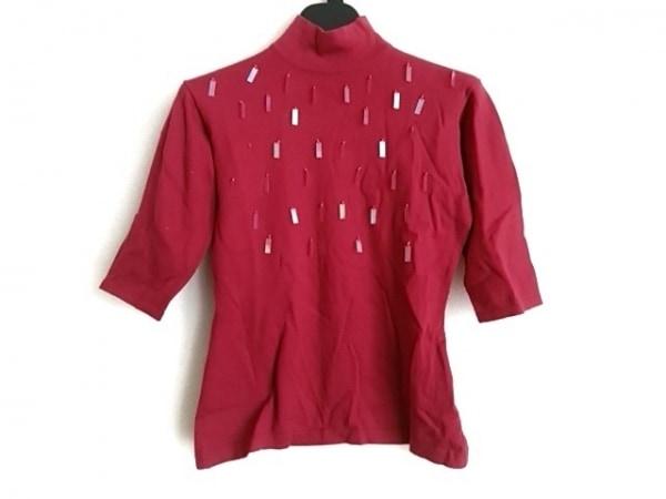 YUKIKO HANAI(ユキコハナイ) 七分袖セーター サイズ8 M レディース レッド×クリア