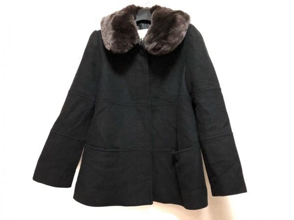 rich(リッチ) コート サイズM レディース 黒×ダークブラウン 冬物/ファー
