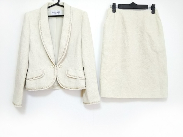 miss ashida(ミスアシダ) スカートスーツ サイズ7 S レディース美品  アイボリー ラメ