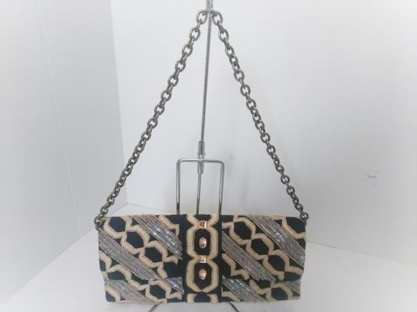 SANTI(サンティ) ハンドバッグ 黒×アイボリー×マルチ 刺繍/ビーズ/ビジュー