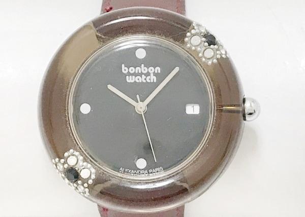 ボンボンウォッチ 腕時計 - レディース 革ベルト/ラインストーンベゼル/裏スケ 黒