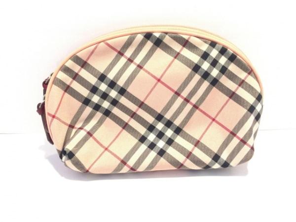 バーバリーブルーレーベル ポーチ美品  ピンク×黒×マルチ チェック柄 ナイロン