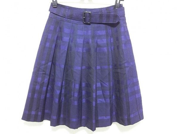 バーバリーロンドン スカート サイズ36 M レディース美品  パープル×黒 チェック柄