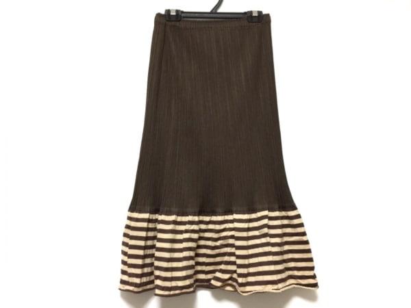 プリーツプリーズ スカート サイズ2 M レディース ダークブラウン×ベージュ