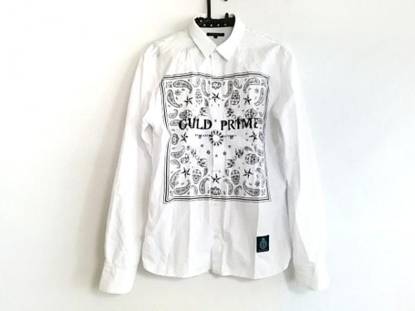 ギルドプライム 長袖シャツ サイズ2 M メンズ美品  白×黒 スカル/ペイズリー