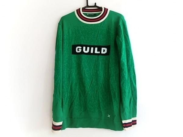 ギルドプライム 長袖セーター サイズ2 M メンズ美品  グリーン×黒×マルチ