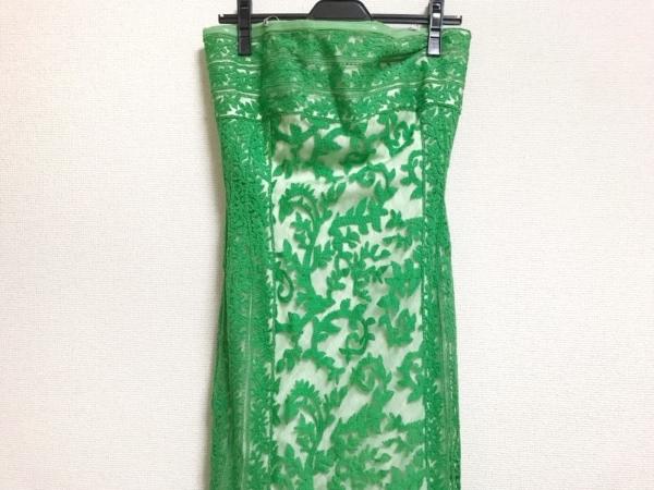 タダシショージ ワンピース サイズ4 XL レディース美品  グリーン×白 刺繍/ロング丈