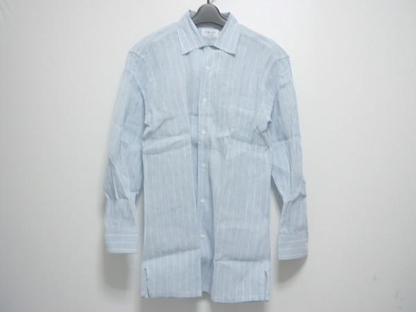 ORIAN(オリアン) 長袖シャツ サイズL メンズ 白×ブルー ストライプ