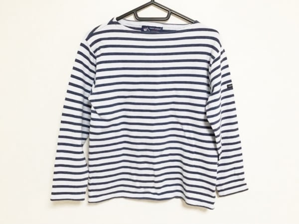 セントジェームス 七分袖Tシャツ サイズF 1PGE レディース 白×ブルー ボーダー