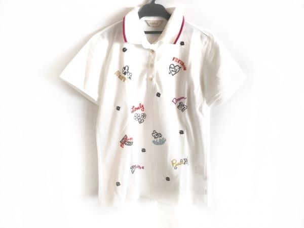 Adabat(アダバット) 半袖ポロシャツ サイズ40 M レディース美品  白×黒×マルチ