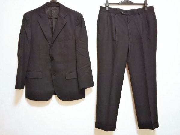 VISARUNO(ビサルノ) シングルスーツ メンズ 黒 ストライプ/ネーム刺繍