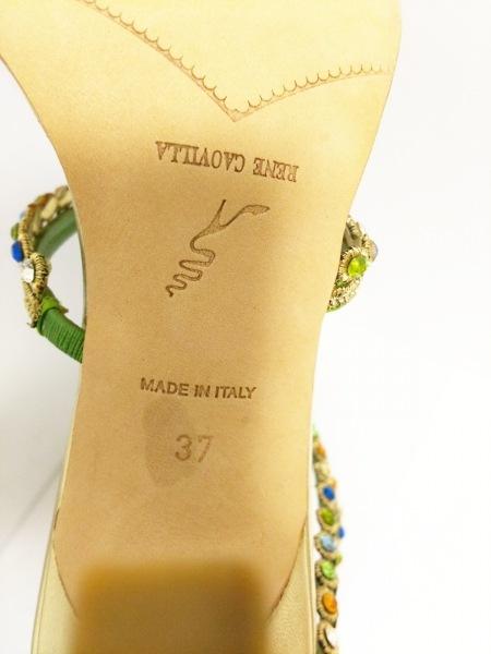 レネカオヴィラ サンダル 37 レディース美品  ライトグリーン×ゴールド×マルチ