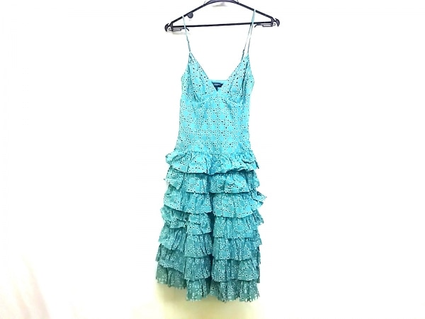 ベッツィージョンソン ドレス サイズ4 S レディース ライトブルー×白 ティアード