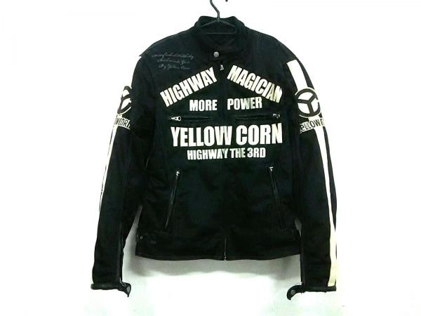 イエローコーン ライダースジャケット サイズM メンズ 黒×アイボリー 肘パッド