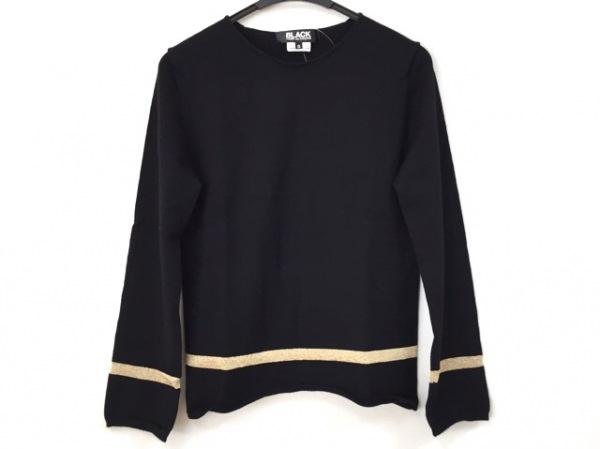 ブラックコムデギャルソン 長袖セーター サイズS メンズ 黒×ゴールド ラメ