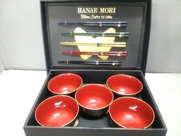 ハナエモリ 食器新品同様  レッド×ダークネイビー×マルチ 茶碗・箸×5 漆